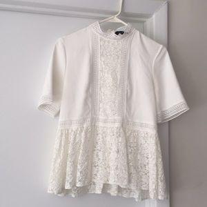 ZARA white lace peplum top